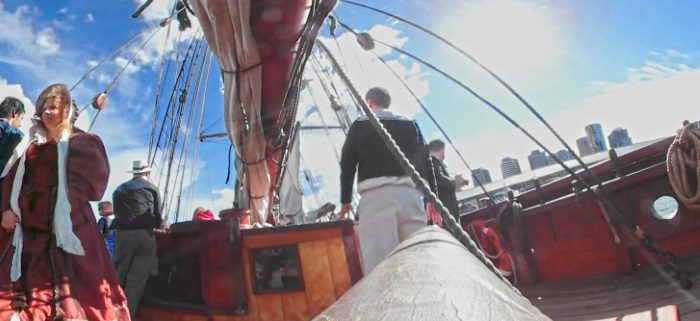 360 VideoSphere Camera attached to the Tiller of the Enterprize, Melbourne Regatta Day 2016